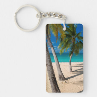 Palm trees and turquoise water along Seven-Mile Double-Sided Rectangular Acrylic Key Ring