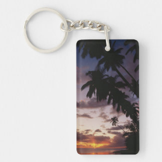Palm Trees at sea Double-Sided Rectangular Acrylic Key Ring