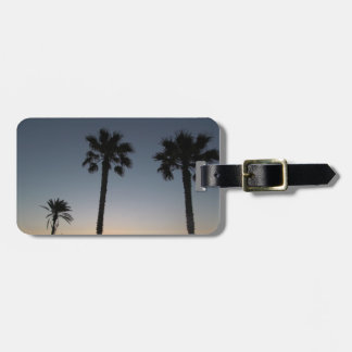 Palm trees at sunset luggage tag