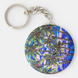 palm trees basic round button key ring