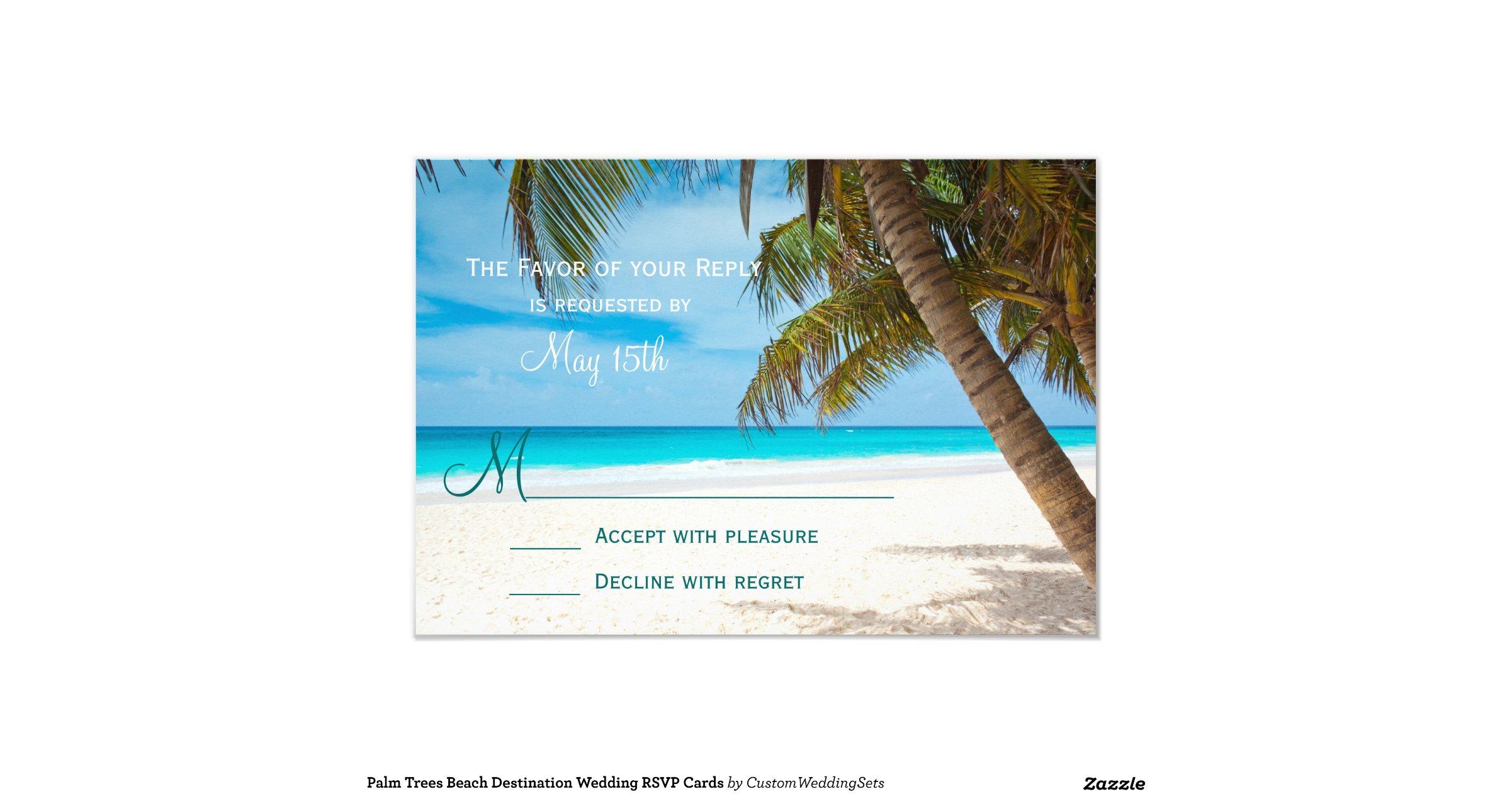 Palm Trees Beach Destination Wedding RSVP Cards 9 Cm X 13 Cm Invitation Card