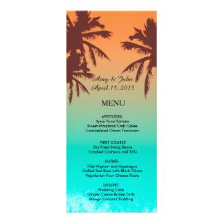 Palm trees beach wedding menu beach2 rack cards