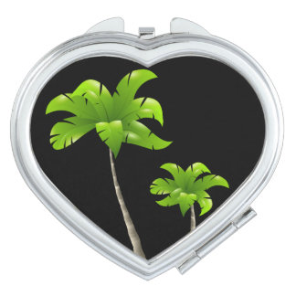 Palm Trees Heart Compact Mirror