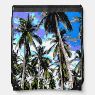 Palm Trees in a Posterised Design Drawstring Bag