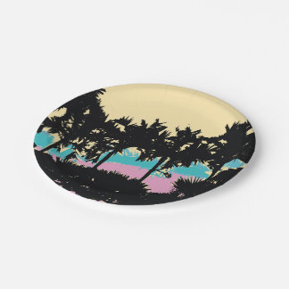 Palm Trees Modern Pink Yellow Blue Abstract Paper Plate