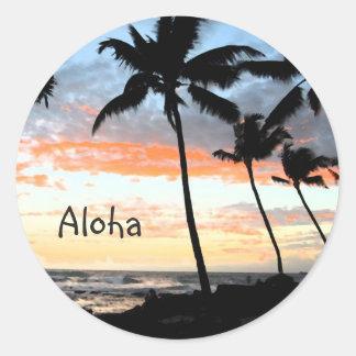Palm Trees Ocean Round Sticker