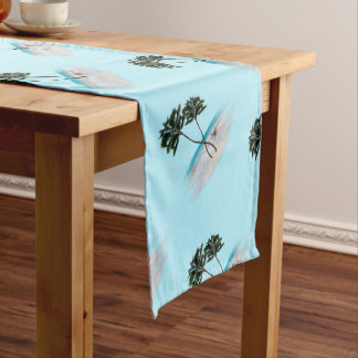 Palm Trees Oceanside Tropical Pattern Table Runner