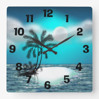 Palm Trees on a Tropical Island Square Wall Clock