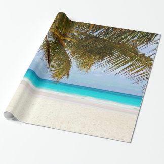 Palm Trees on Beach Blue Sea & Sky Wrapping Paper