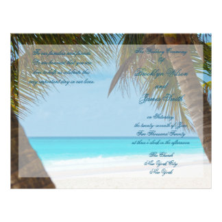 Palm Trees On Beach Wedding Ceremony Program Flyer