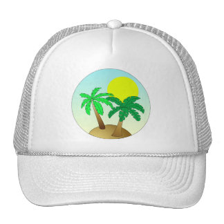 Palm trees on blue with sun cap