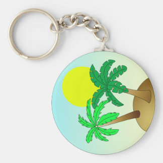 Palm trees on blue with sun basic round button key ring