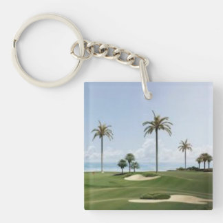 palm trees on golf course square acrylic keychain
