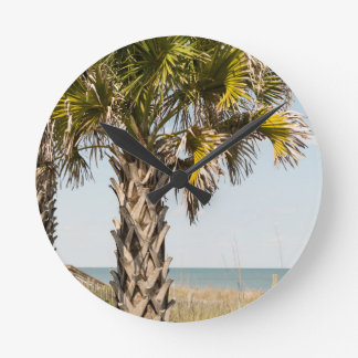 Palm Trees on Myrtle Beach East Coast Boardwalk Round Clock