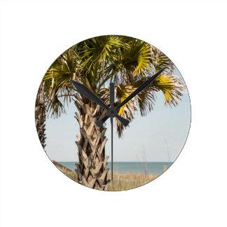 Palm Trees on Myrtle Beach East Coast Boardwalk Wallclock