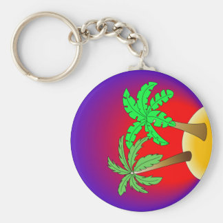 Palm trees on red and purple basic round button key ring