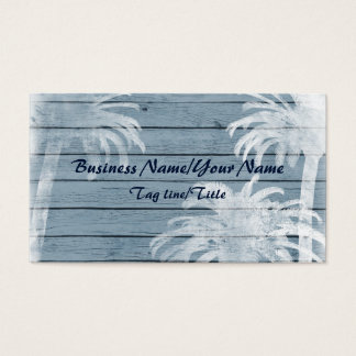 Palm Trees on Rustic Wood Background Beach Business Card