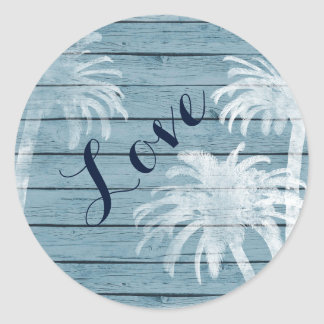 Palm Trees on Rustic Wood Background Beach LOVE Round Sticker