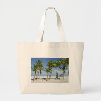 Palm Trees on Sunny Key Biscayne Large Tote Bag