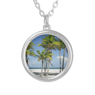 Palm Trees on Sunny Key Biscayne Silver Plated Necklace
