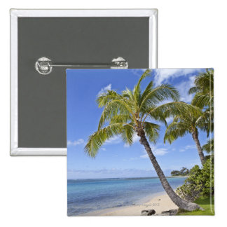 Palm trees on the beach in Hawaii. 15 Cm Square Badge