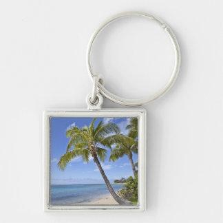 Palm trees on the beach in Hawaii. Keychain