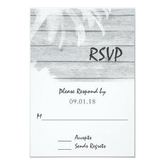 Palm Trees on Wood Beach Wedding RSVP 9 Cm X 13 Cm Invitation Card