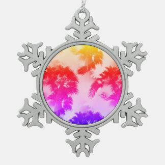 Palm trees pewter snowflake ornament