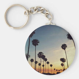 Palm trees prevailing basic round button key ring