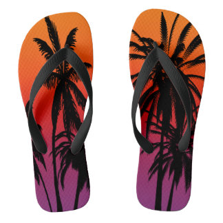 Palm Trees Purple Orange Haze Tahiti Sunset Retro Thongs