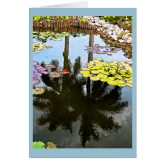 """""""PALM TREES REFLECTED IN LILY POND"""" NOTE CARD"""