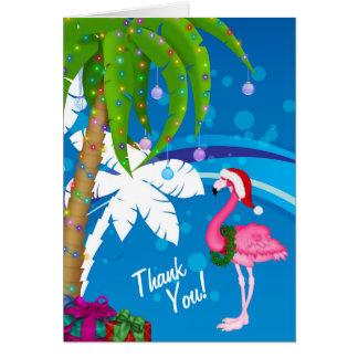 Palm Trees Santa Flamingo Holiday Beach Thank You Card