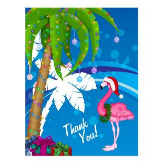 Palm Trees Santa Flamingo Holiday Beach Thank You Postcard