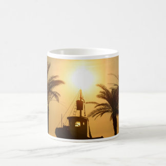 Palm Trees Ship Photo White Mug