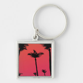 Palm Trees Silhouettes at Sunset Silver-Colored Square Key Ring