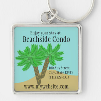 Palm Trees Silver-Colored Square Key Ring