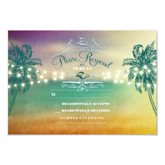 Palm trees string lights beach wedding RSVP cards