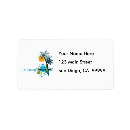 Palm Trees Sun & Circle Label