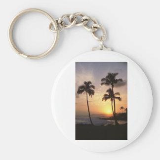 Palm Trees, Sunset, Beach, Hawaii Basic Round Button Key Ring