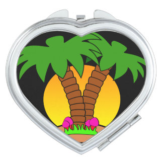 Palm Trees & Sunset  Heart Compact Mirror