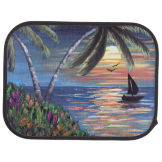 Palm Trees Sunset Ocean Painting Floor Mat
