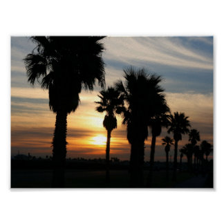 PALM TREES SUNSET POSTER