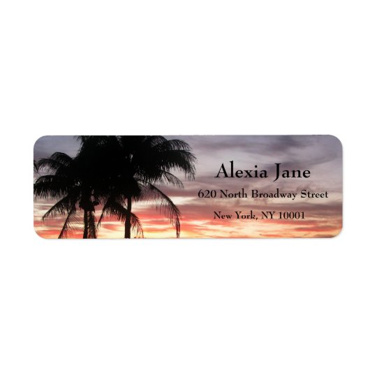 Palm Trees & Sunset Return Address Label