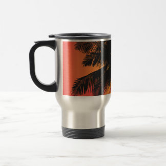 Palm Trees Sunset Silhouettes Stainless Steel Travel Mug