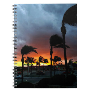 Palm Trees Swaying in the Breeze at Sunset Spiral Notebook