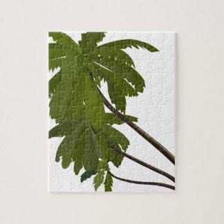 Palm Trees Tropical Hawaiian Theme White Trendy Jigsaw Puzzle