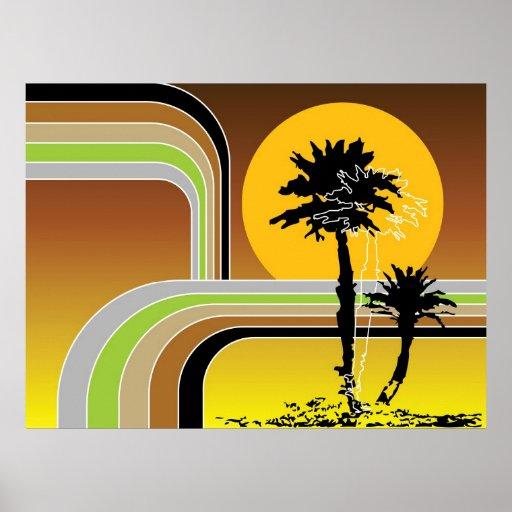 Palm Trees Tropical Retro Beach Sunset Stripes Mod Print