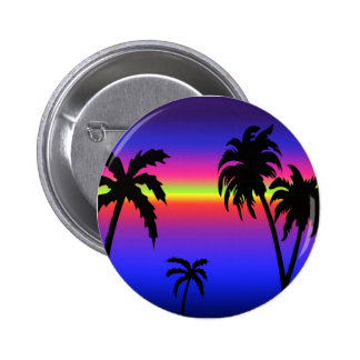 Palm Trees Tropical Sunset Button