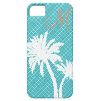 Palm Trees Turquoise Monogram Barely There iPhone 5 Case