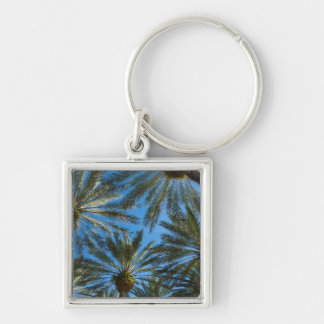 Palm Trees Umbrella Silver-Colored Square Key Ring
